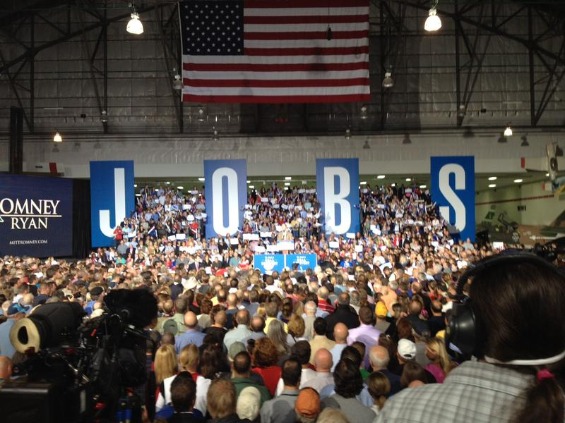 The backdrop of a Romney campaign rally in Denver on October 1, 2012.