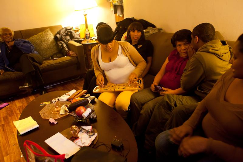 Four generations of Alstons gather at Virgie Alston's apartment at the Queensbridge Houses.