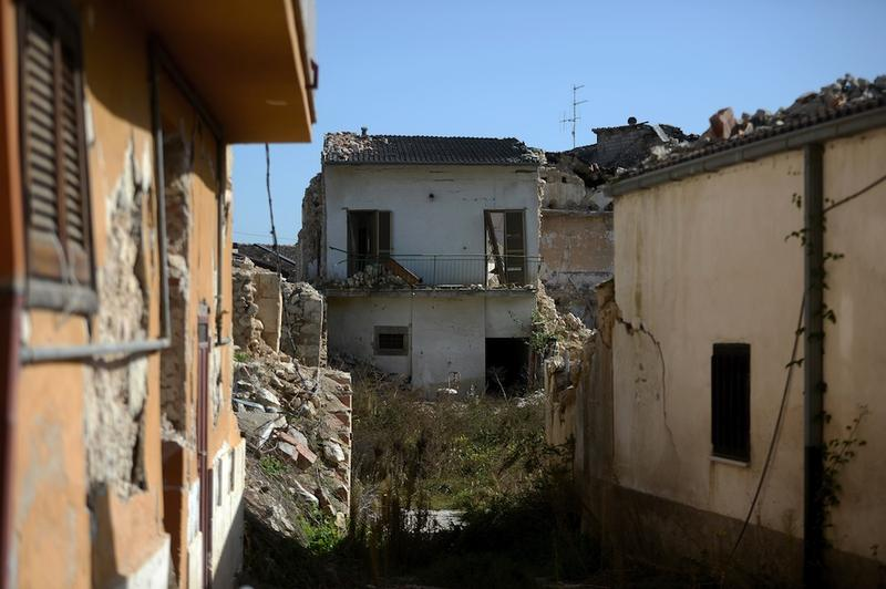 Buildings damaged in the 2009 earthquake in the village of Onna. Photo taken on October 22, 2012.