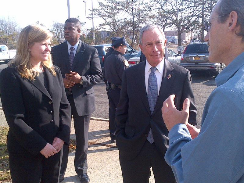 From left, DEP Chief Operating Officer Katheryn Garcia, Mayor Michael Bloomberg and plant chief Phillip Rocle outside the Oakwood Beach Wastewater Plant