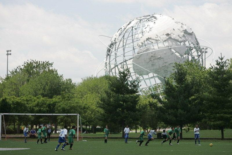 A soccer match in Flushing Meadows Corona Park