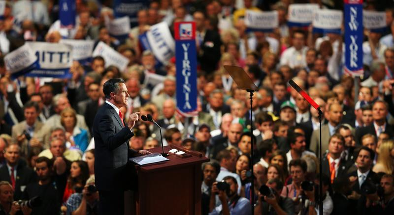 Republican presidential candidate, former Massachusetts Gov. Mitt Romney delivers his nomination acceptance speech.