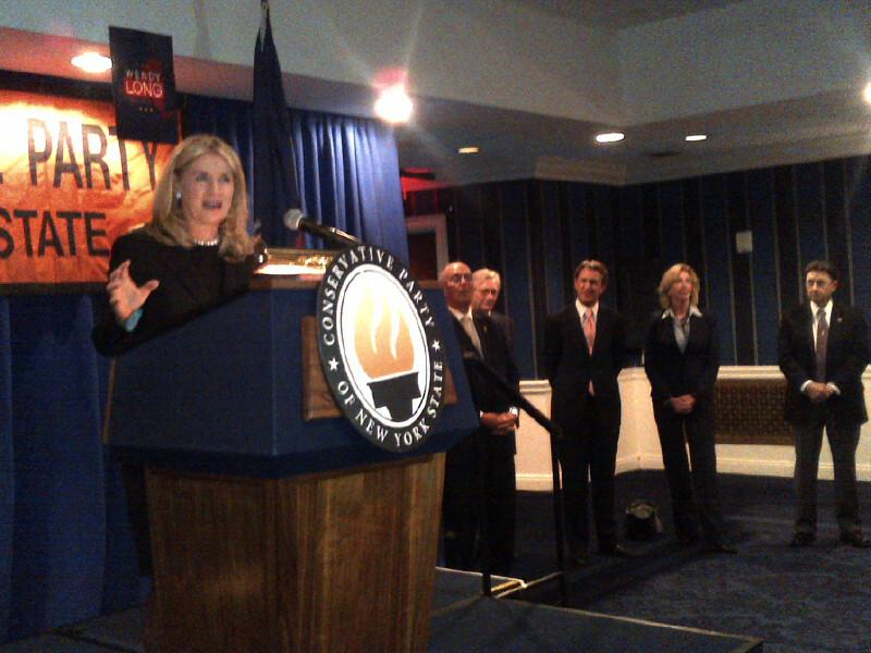 Wendy Long giving a speech at a New York State Conservative Party event.