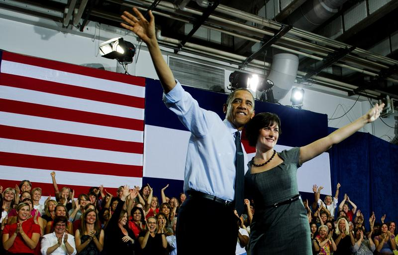 Sandra Fluke at a campaign event with President Obama in Colorado in 2012.