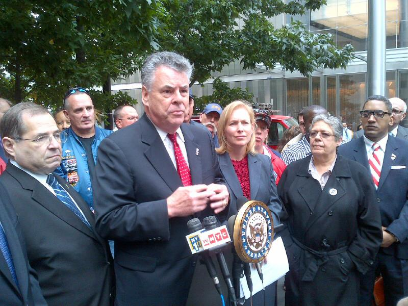 Rep. Pete King (R-Long Island) spoke at a press event at the World Trade Center site called by Sen. Kirsten Gillibrand.
