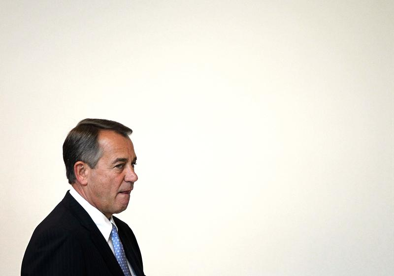 Speaker of the House Rep. John Boehner arrives at his weekly news conference December 20, 2012 on Capitol Hill.