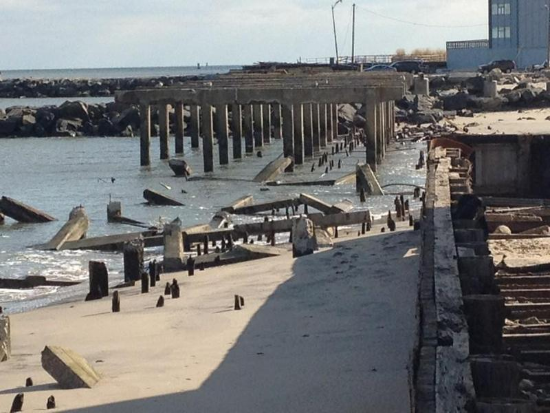 Small section of the Atlantic City boardwalk collapsed.