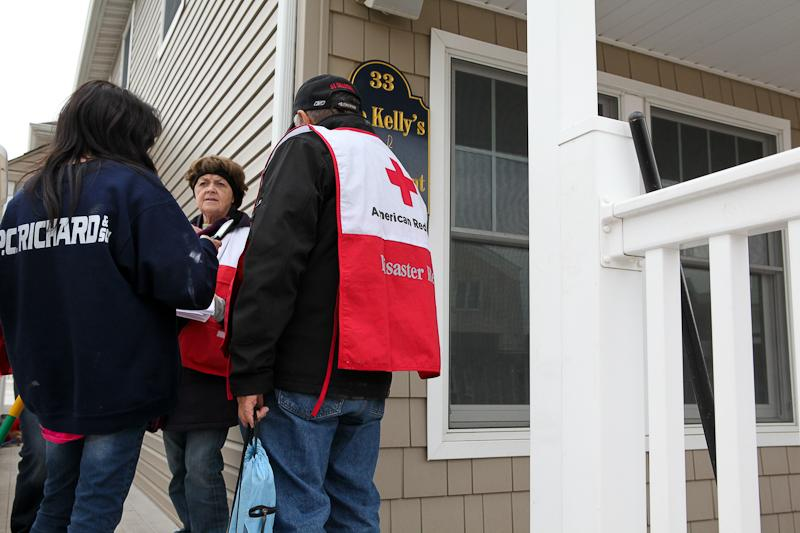 Red Cross volunteers in Breezy Point, a month after Hurricane Sandy hit the area offering metal health assistance to local residents.
