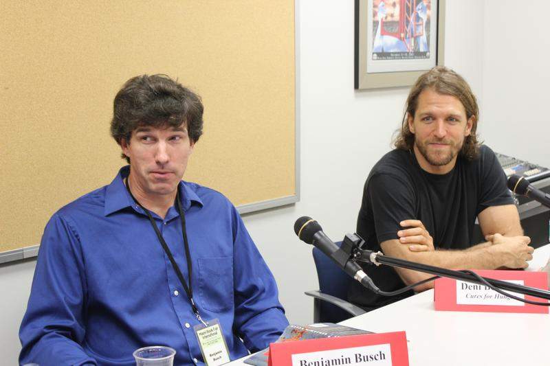 Writers Benjamin Busch and Deni Bechard at the Miami Book Fair International.