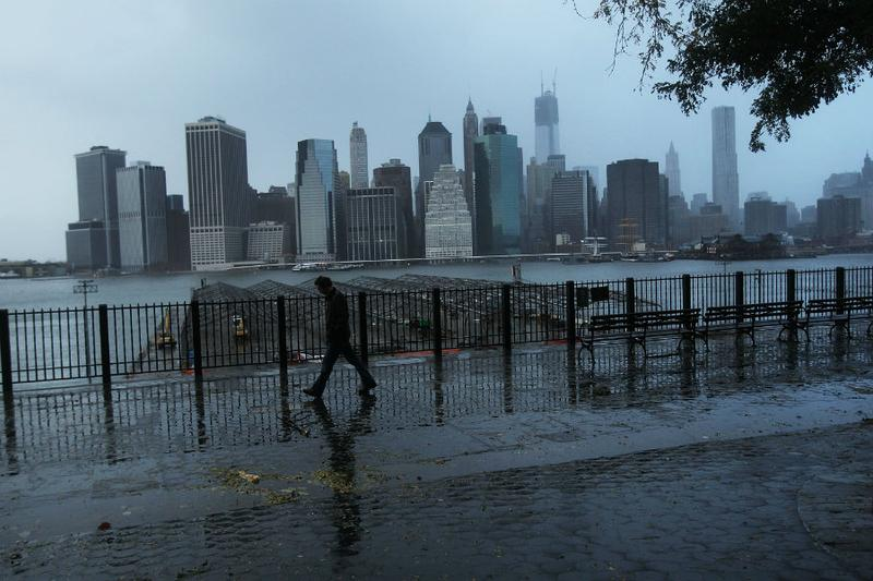 A darkened lower Manhattan viewed from Brooklyn.