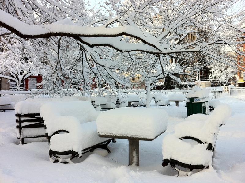 Snow on top of the chess tables at Tompkins Square Park in the East Village