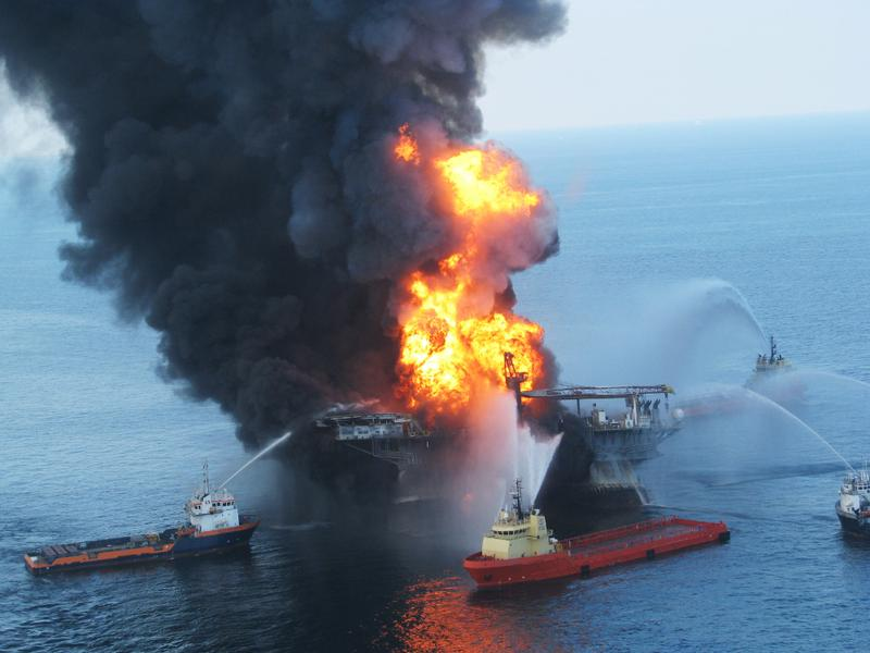 Fire boats battle a fire at the off shore oil rig Deepwater Horizon April 21, 2010 in the Gulf of Mexico off the coast of Louisiana.