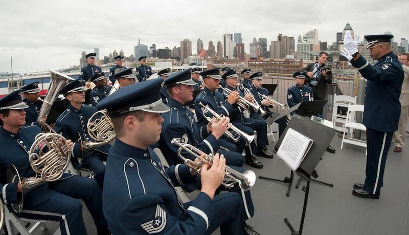 The Air Force Band aboard the Intrepid in 2010.