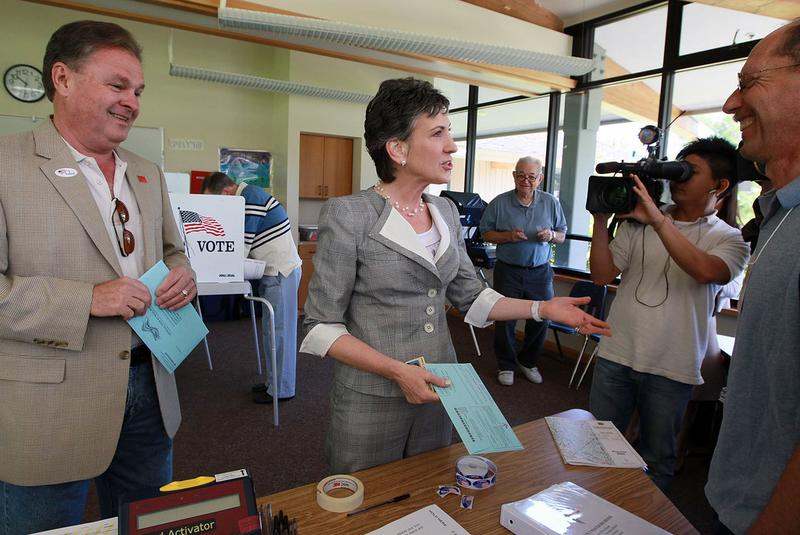 Republican candidate for U.S. Senate and former HP CEO Carly Fiorina greets poll workers before voting June 8, 2010 in Los Altos Hills, California.