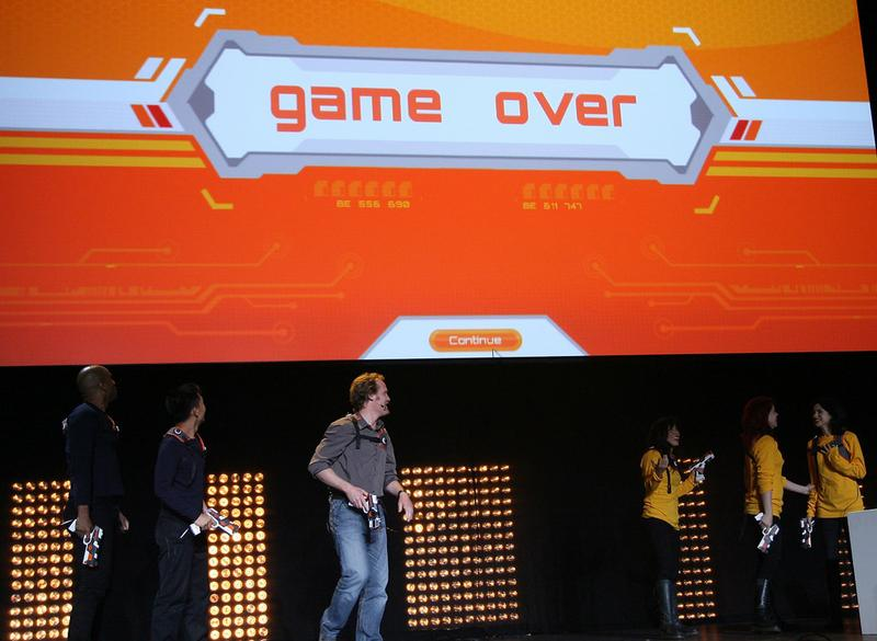Johel McHale presents Ubisoft's new game Battletag' at the Ubisoft's E3 Press Conference in Los Angeles, on June 14, 2010.