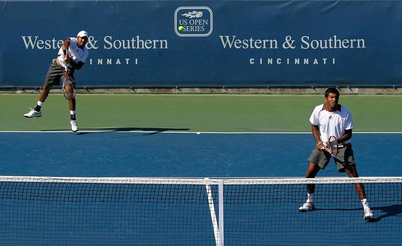 Rohan Bopanna of India and Aisam-Ul-Haq Qureshi of Pakistan during Day 3 of the Western & Southern Financial Group Masters at the Lindner Family Tennis Center on August 18, 2010 in Cincinnati, Ohio.