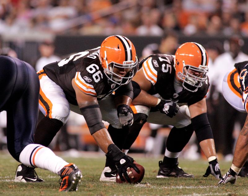 Shawn Lauvao #66 and Pat Murray #75 of the Cleveland Browns line up before the snap against the Chicago Bears during the preseason game on September 2, 2010 at Cleveland Browns Stadium.