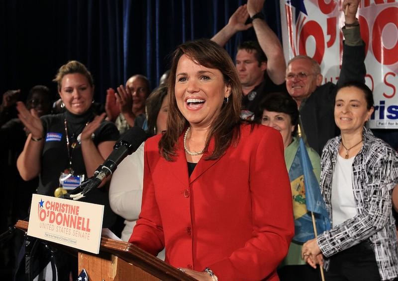 U.S. Senate candidate Christine O'Donnell speaks to her supporters after she won the Delaware U.S. Senate primary against Rep. Mike Castle on September 14, 2010 in Dover, Delaware.