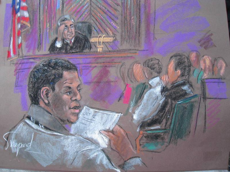 This October 06, 2010 courtroom sketch shows defendant Ahmad Khalfan Ghailani (L) at his trial in New York. Judge Lewis Kaplan barred a key government witness, Hussein Abebe, from appearing.