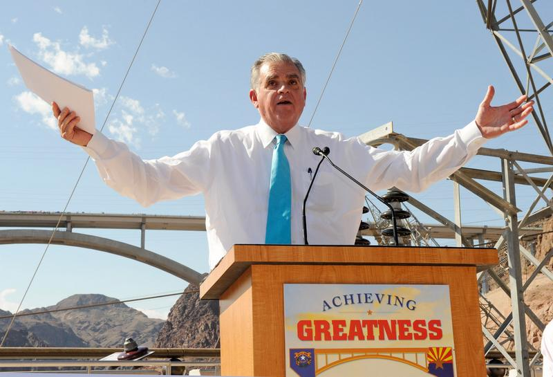 U.S. Transportation Secretary Ray LaHood speaks at the dedication of the Mike O'Callaghan-Pat Tillman Memorial Bridge part of the Hoover Dam Bypass Project October 14, 2010 in Lake Mead, NV.