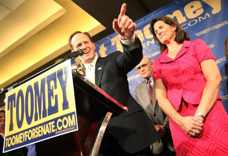 Republican Senator-elect Pat Toomey and his wife Kris celebrate at his victory party at the Holiday Inn November 2, 2010 in Allentown, Pennsylvania.