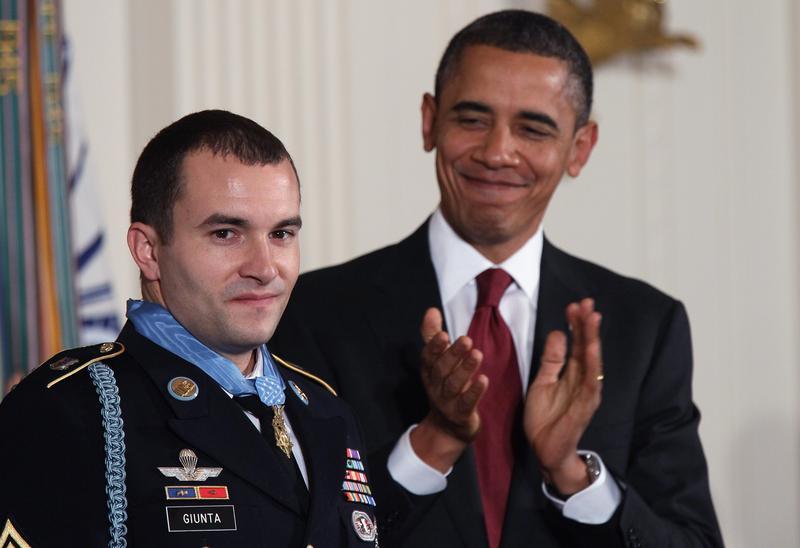 President Barack Obama awards Army Staff Sgt. Salvatore Giunta the Congressional Medal Of Honor