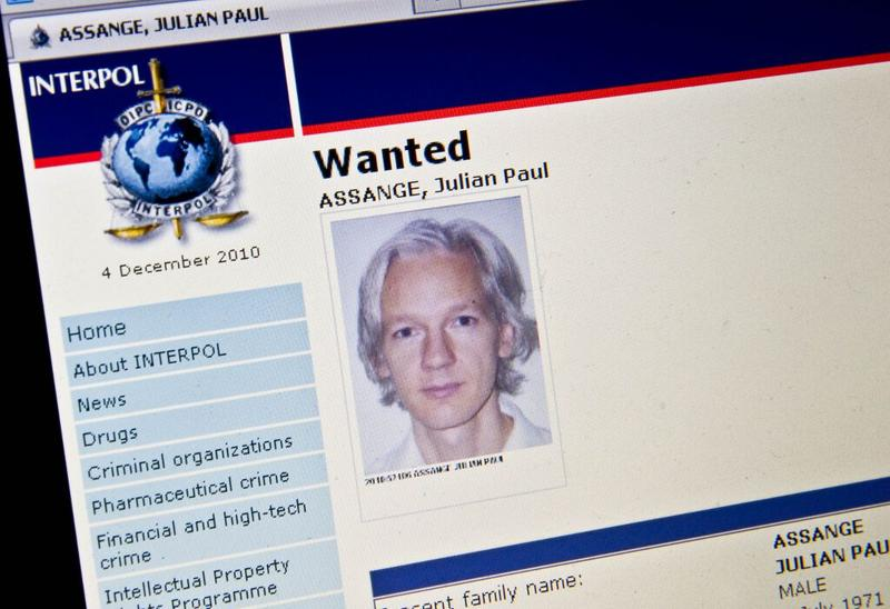 View of the Interpol 'wanted' page for WikiLeaks founder Julian Assange taken in Washington on December 3, 2010.