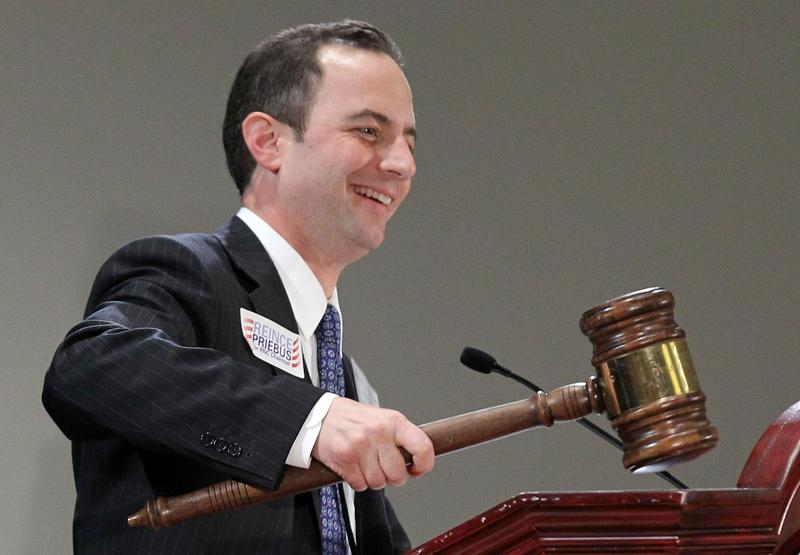 Reince Priebus holds up a gavel after he was elected to be the new chairman of the National Republican Committee during the RNC Winter Meeting January 14, 2011 in National Harbor, Maryland.