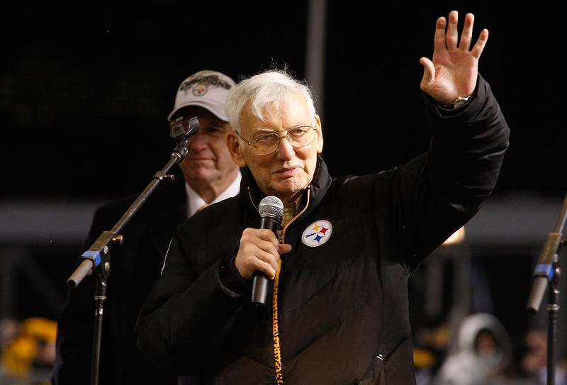 Owner of the Pittsburgh Steelers Dan Rooney waves to the fans.
