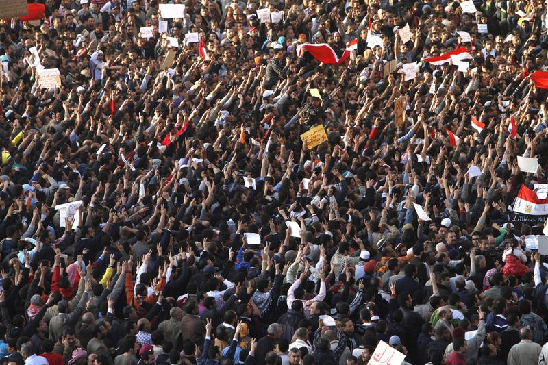 Egyptian demonstrators gather in Tahrir Square, in central Cairo, on January 31, 2011, on the seventh day of protests against long term President Hosni Mubarak's regime.