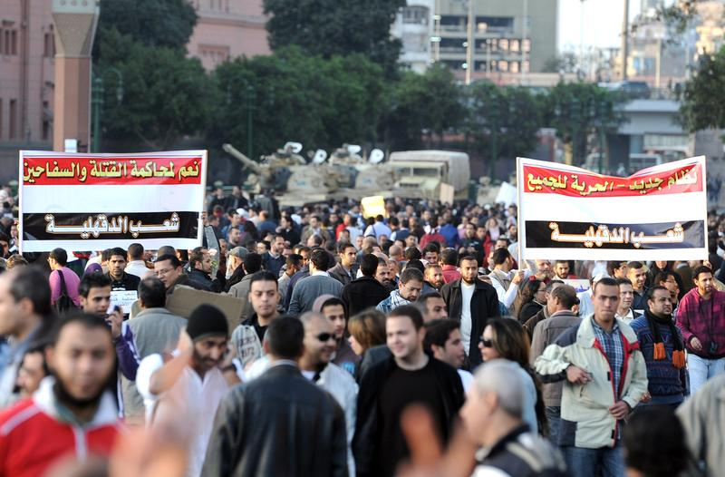 Egyptian demonstrators gather in Tahrir Square, in central Cairo, on January 31, 2011.