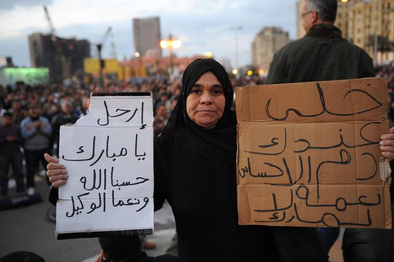 An Egyptian female demonstrator holds up a sign calling for the end of the current regime as she and others gather in Tahrir Square, in central Cairo, on January 31, 2011.