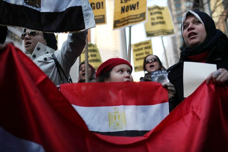Demonstrators rally outside the UN Egyptian Mission In New York