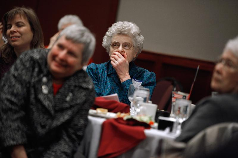 About 60 people gathered during the bi-monthly luncheon of the Republican Women of Black Hawk County in Waterloo, Iowa.