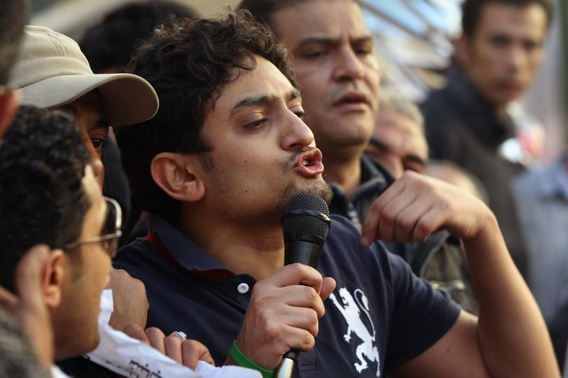 Wael Ghonim greets thousands of anti-government protesters in Tahrir Square on February 8, 2011.