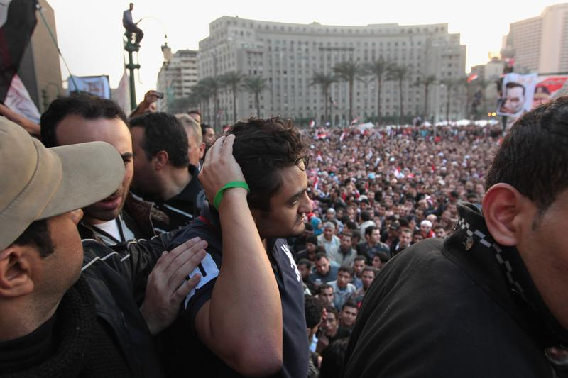 Google marketing executive Wael Ghonim prepares to address anti-government protesters in Tahrir Square on February 8, 2011 in Cairo, Egypt.