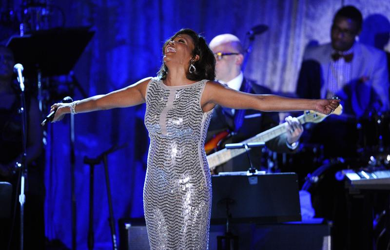 Whitney Houston performs at the 2011 Pre-GRAMMY Gala at Beverly Hilton on February 12, 2011 in Beverly Hills.