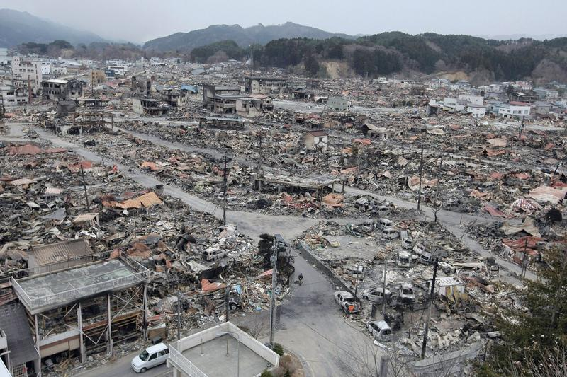 General view of the rubble of Yamada, Iwate prefecture, on March 15, 2011. Explosions and a fire at Japan's quake-hit nuclear plant unleashed dangerous radiation.