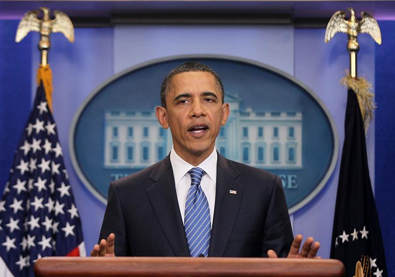 U.S. President Barack Obama makes a statement to the media after an evening meeting with Speaker of the House Rep. John Boehner (R-OH) and Senate Majority Leader Sen. Harry Reid (D-NV) April 7, 2011.