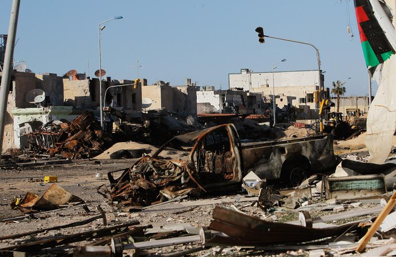 Tripoli Street in downtown Misrata is a scene of destruction April 18, 2011 in Misrata, Libya. Tripoli Street once was Misrata's posh main avenue for shops and expensive apartments.