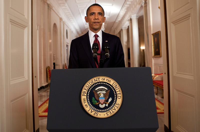 President Obama announces the death of Osama Bin Laden late Sunday night May 1, from the White House.