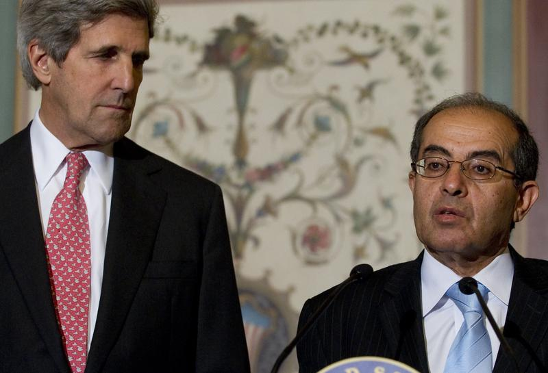 Mahmoud Gibril, Representative for Foreign Affairs of the Libyan Transitional National Council, speaks alongside US Senate Foreign Relations Committee Chairman John Kerry (D-Mass.) in Washington, D.C.