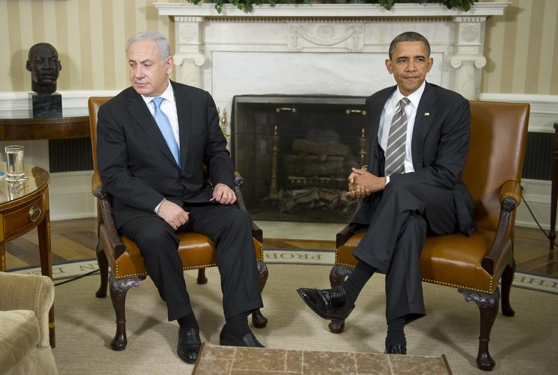 U.S. President Barack Obama meets with Israeli Prime Minister Benjamin Netanyahu in the Oval Office of the White House in Washington, DC, May 20, 2011.