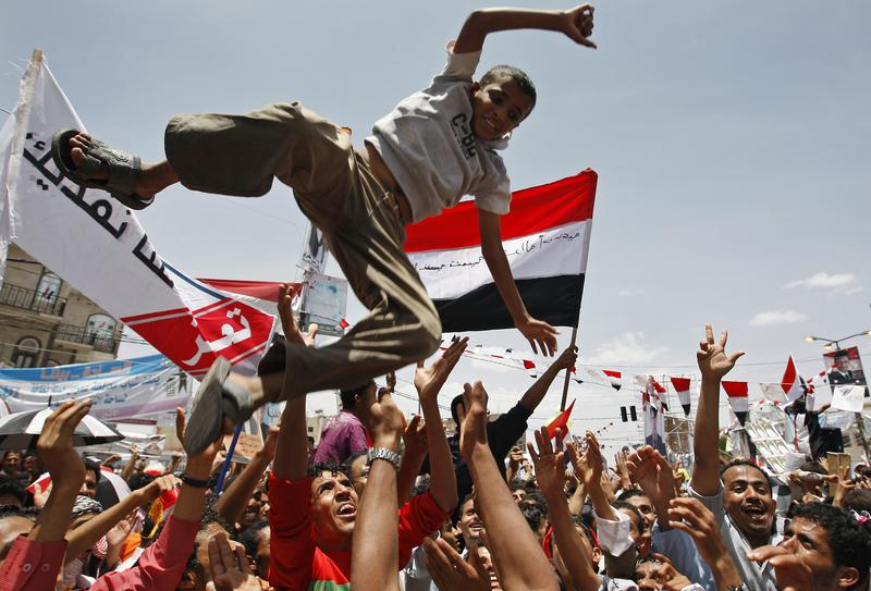 Yemeni anti-government protesters gather in Sanaa on June 5, 2011 to celebrate what they said was the fall of Yemen's regime