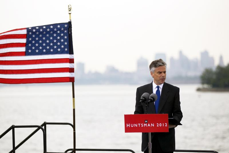 Republican Jon Huntsman speaks during a press conference to announce his bid for the presidency at Liberty State Park June 21, 2011 in Jersey City, New Jersey.