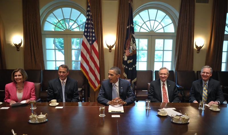 President Barack Obama takes part in a debt meeting with congressional leaders July 13, 2011 in the Cabinet Room of the White House in Washington, DC.