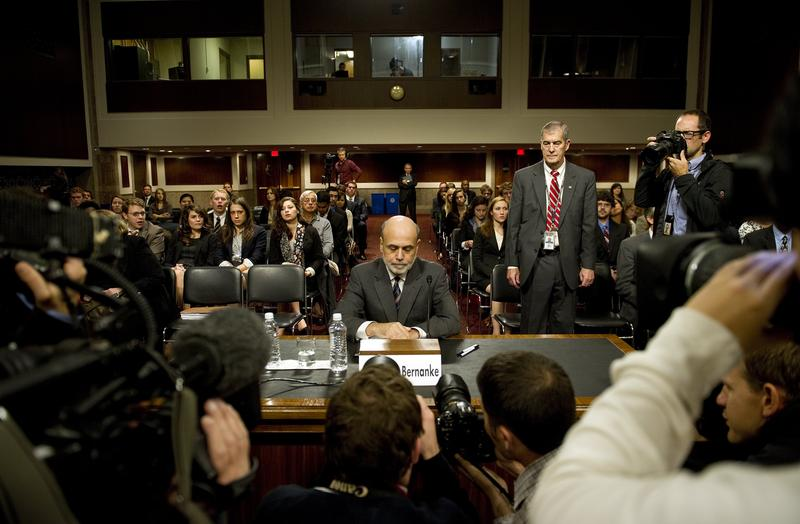 Federal Reserve Chairman Ben Bernanke arrives to testify before the Joint Economic Committee on Capitol Hill in Washington, DC, October 4, 2011.