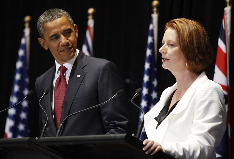 President Barack Obama speaks at the Joint Media Conference with Australian PM Julia Gillard.
