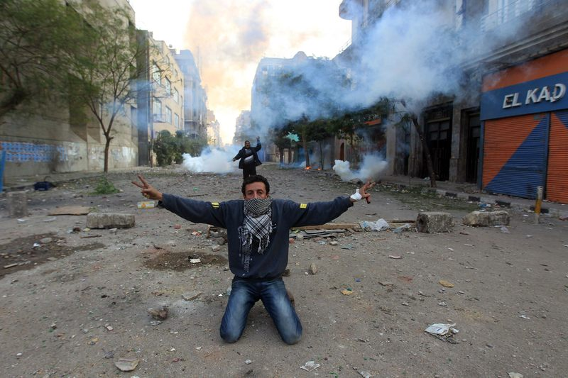 An Egyptian protester during clashes with riot police at Cairo's Tahrir Square