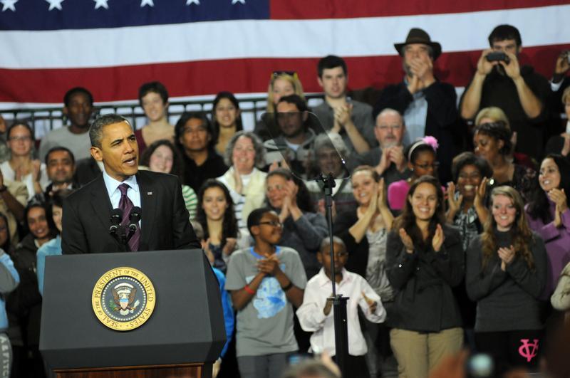 MANCHESTER, NH - NOVEMBER 22: U.S. President Barack Obama speaks at Manchester Central High School November 22, 201 in Manchester, New Hampshire. Obama spoke about job creation.